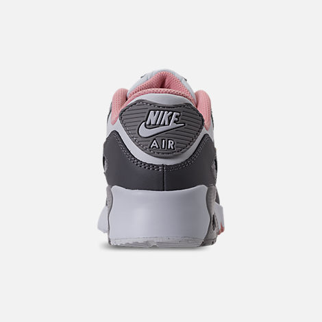Back view of Girls' Preschool Nike Air Max 90 Leather Running Shoes in Gunsmoke/Metallic Gold/Atmoshpere Grey