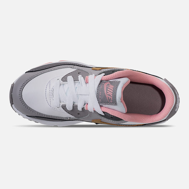 Top view of Girls' Preschool Nike Air Max 90 Leather Running Shoes in Gunsmoke/Metallic Gold/Atmoshpere Grey