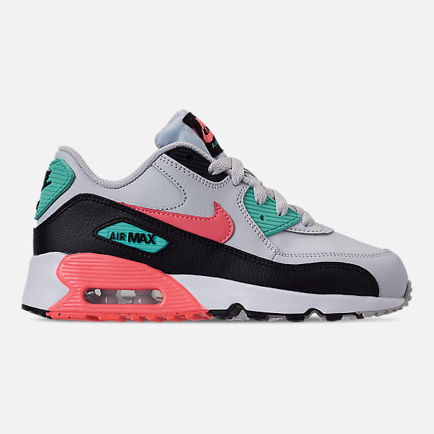 Right view of Girls' Little Kids' Nike Air Max 90 Leather Casual Shoes in Pure Platinum/Lava Glow/Black/Aurora