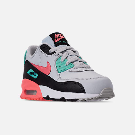 Three Quarter view of Girls  Little Kids  Nike Air Max 90 Leather Casual  Shoes 3058c8166