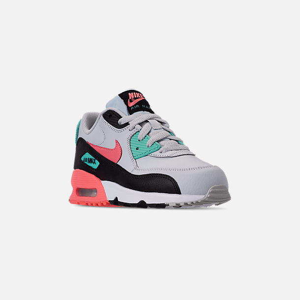 Three Quarter view of Girls' Little Kids' Nike Air Max 90 Leather Casual Shoes in Pure Platinum/Lava Glow/Black/Aurora