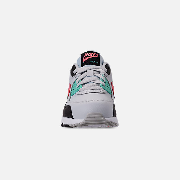 Front view of Girls' Little Kids' Nike Air Max 90 Leather Casual Shoes in Pure Platinum/Lava Glow/Black/Aurora