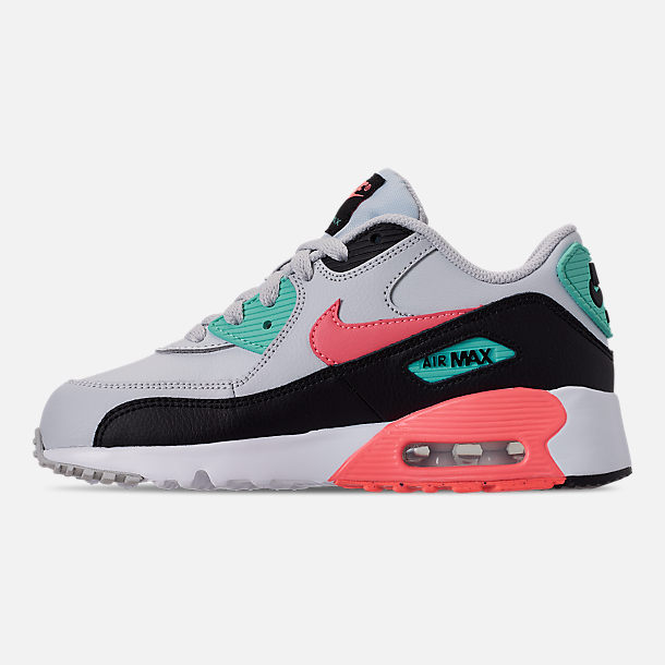 5f78c8a3205a Left view of Girls  Little Kids  Nike Air Max 90 Leather Casual Shoes in