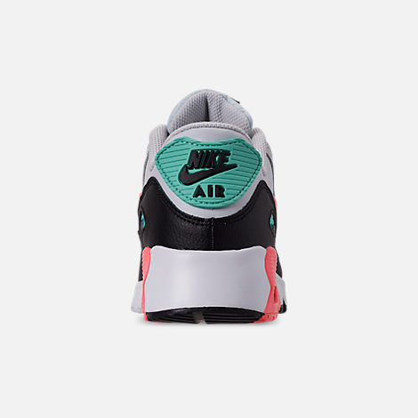 Back view of Girls' Little Kids' Nike Air Max 90 Leather Casual Shoes in Pure Platinum/Lava Glow/Black/Aurora