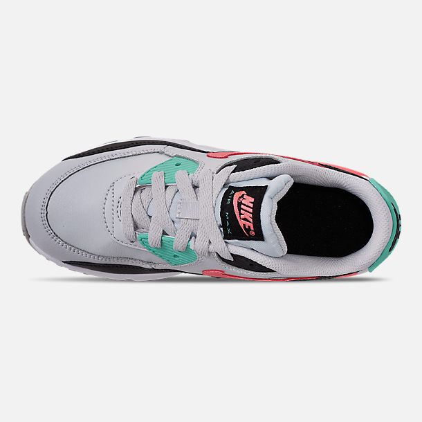 Top view of Girls' Little Kids' Nike Air Max 90 Leather Casual Shoes in Pure Platinum/Lava Glow/Black/Aurora