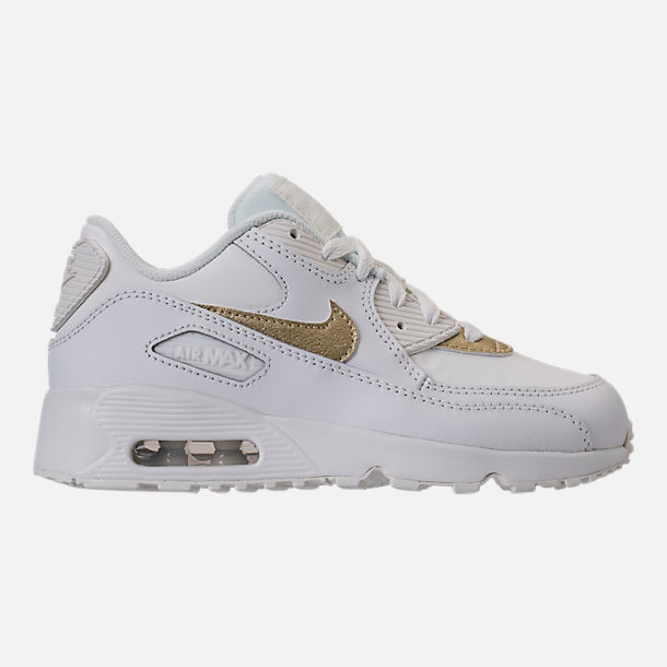 Right view of Girls' Preschool Nike Air Max 90 Leather Running Shoes in Summit White/Metallic Gold Star