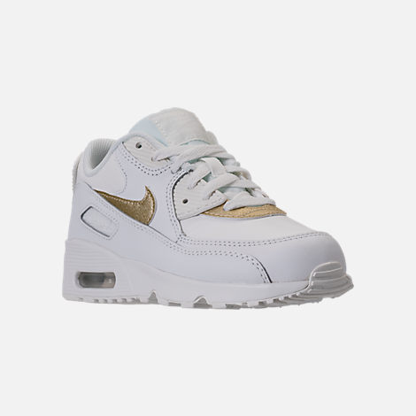 Three Quarter view of Girls' Preschool Nike Air Max 90 Leather Running Shoes in Summit White/Metallic Gold Star