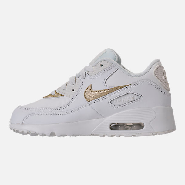 Left view of Girls' Preschool Nike Air Max 90 Leather Running Shoes in Summit White/Metallic Gold Star