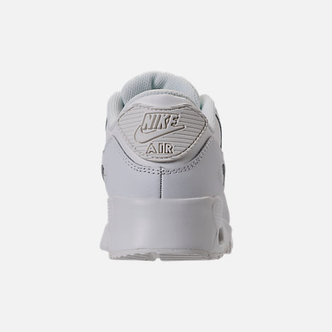 Back view of Girls' Preschool Nike Air Max 90 Leather Running Shoes in Summit White/Metallic Gold Star