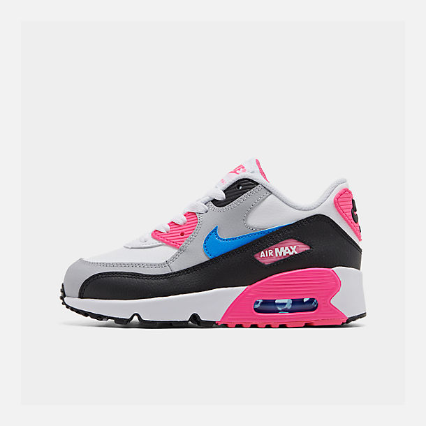 Right view of Girls' Little Kids' Nike Air Max 90 Leather Casual Shoes in White/Photo Blue/Black/Pink Blast