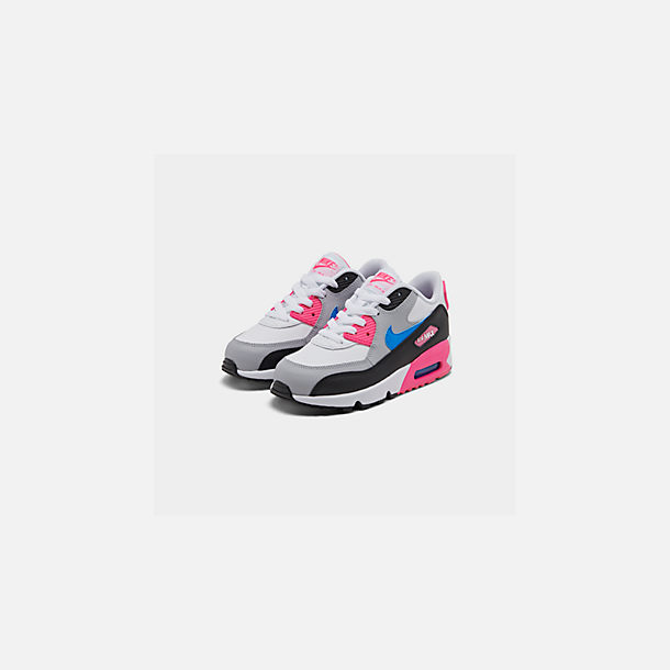 Three Quarter view of Girls' Little Kids' Nike Air Max 90 Leather Casual Shoes in White/Photo Blue/Black/Pink Blast