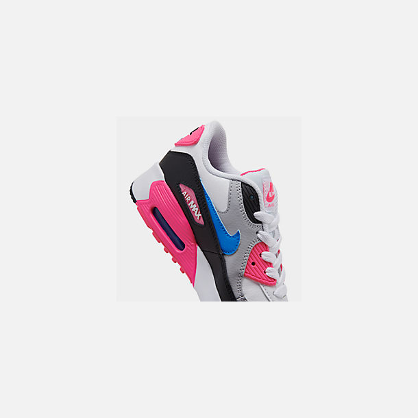 Front view of Girls' Little Kids' Nike Air Max 90 Leather Casual Shoes in White/Photo Blue/Black/Pink Blast