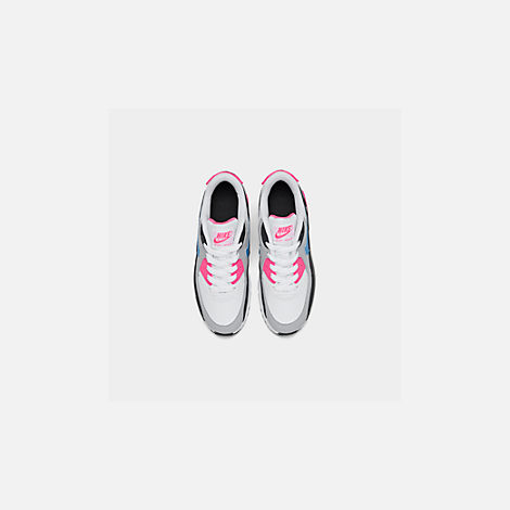Back view of Girls' Little Kids' Nike Air Max 90 Leather Casual Shoes in White/Photo Blue/Black/Pink Blast