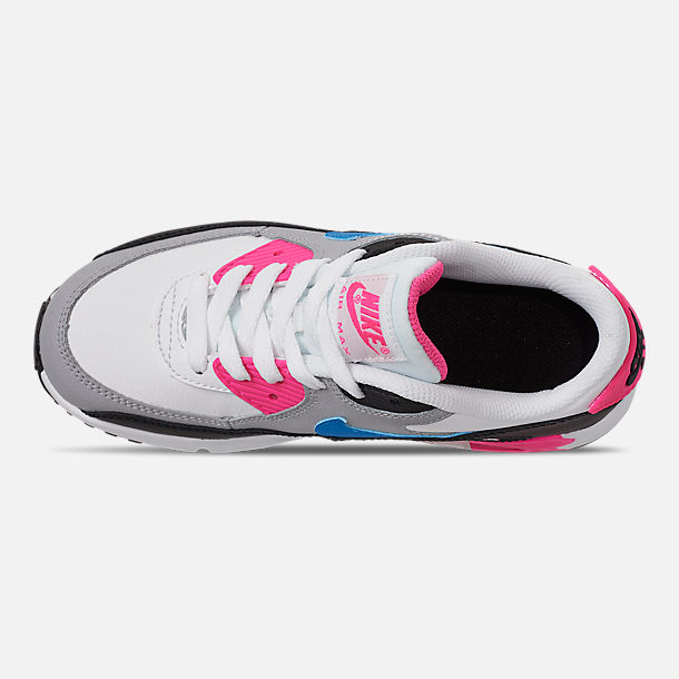 Top view of Girls' Little Kids' Nike Air Max 90 Leather Casual Shoes in White/Photo Blue/Black/Pink Blast