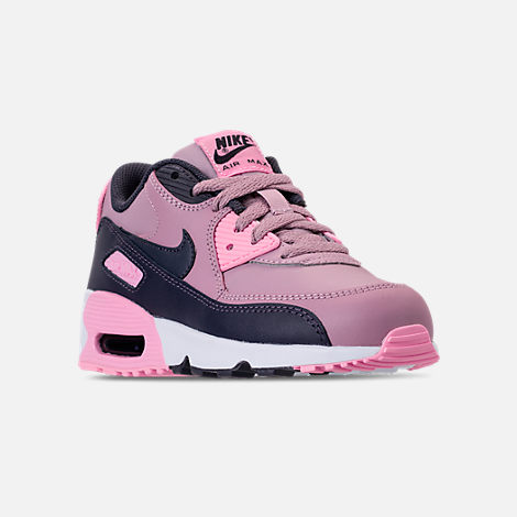 Three Quarter view of Girls' Little Kids' Nike Air Max 90 Leather Casual Shoes