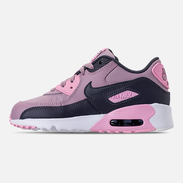 Left view of Girls' Little Kids' Nike Air Max 90 Leather Casual Shoes