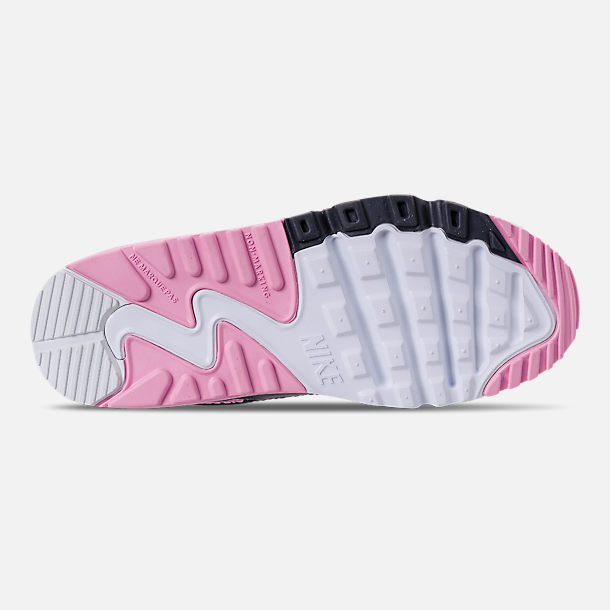 Bottom view of Girls' Little Kids' Nike Air Max 90 Leather Casual Shoes