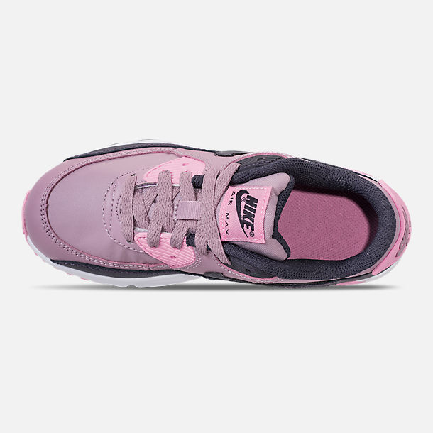 Top view of Girls' Little Kids' Nike Air Max 90 Leather Casual Shoes