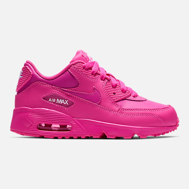 Right view of Girls' Little Kids' Nike Air Max 90 Leather Casual Shoes in Laser Fuchsia/White