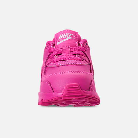 Front view of Girls' Toddler Nike Air Max 90 Leather Casual Shoes in Laser Fuchsia/White