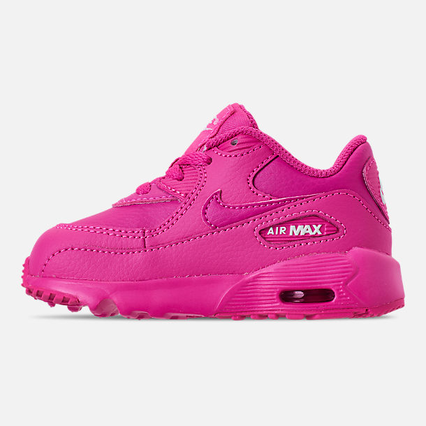 Left view of Girls' Toddler Nike Air Max 90 Leather Casual Shoes in Laser Fuchsia/White