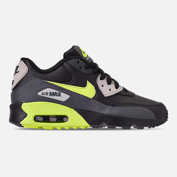 Right view of Big Kids' Nike Air Max 90 Leather Casual Shoes in Dark Grey/Volt/Black/Light Bone