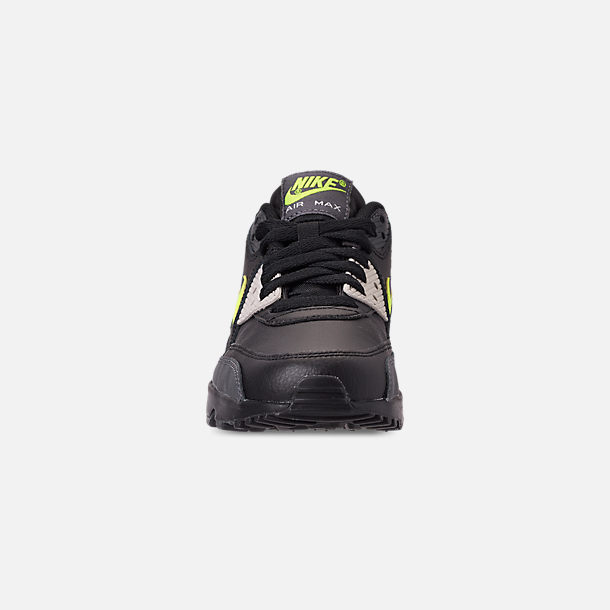 Front view of Big Kids' Nike Air Max 90 Leather Casual Shoes in Dark Grey/Volt/Black/Light Bone
