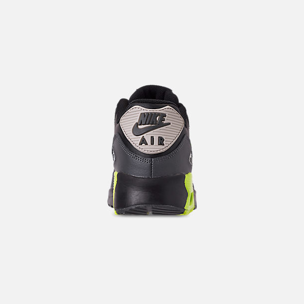 Back view of Big Kids' Nike Air Max 90 Leather Casual Shoes in Dark Grey/Volt/Black/Light Bone