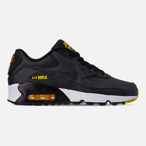 Right view of Big Kids' Nike Air Max 90 Leather Casual Shoes in Black/Amarillo/Anthracite/White