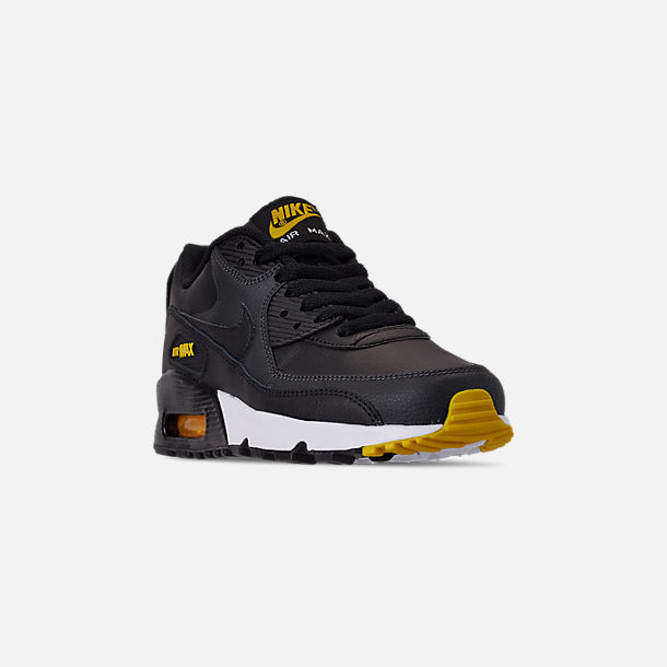 Three Quarter view of Big Kids' Nike Air Max 90 Leather Casual Shoes in Black/Amarillo/Anthracite/White
