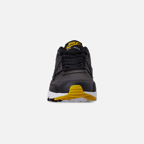 Front view of Big Kids' Nike Air Max 90 Leather Casual Shoes in Black/Amarillo/Anthracite/White