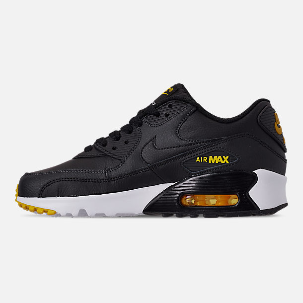 Left view of Big Kids' Nike Air Max 90 Leather Casual Shoes in Black/Amarillo/Anthracite/White