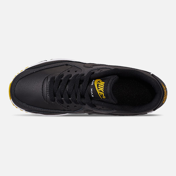 Top view of Big Kids' Nike Air Max 90 Leather Casual Shoes in Black/Amarillo/Anthracite/White