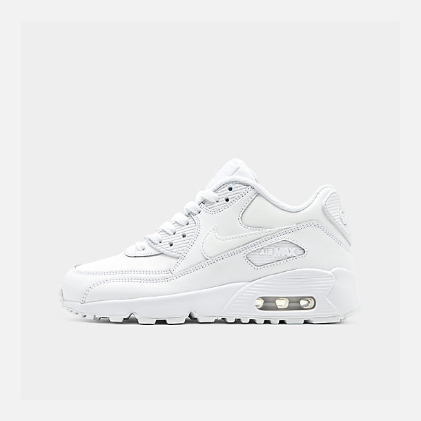 Right view of Big Kids' Nike Air Max 90 Leather Casual Shoes in White/White