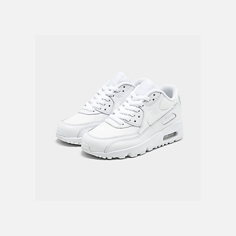 Three Quarter view of Big Kids' Nike Air Max 90 Leather Casual Shoes in White/White