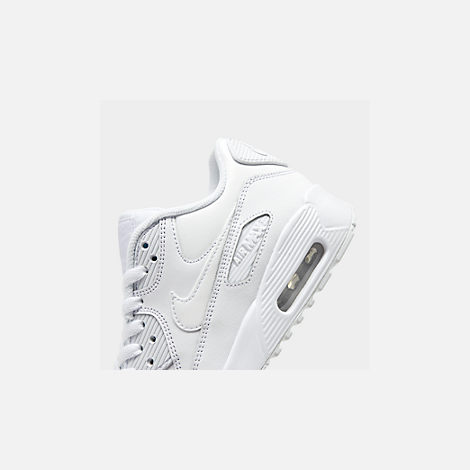 Front view of Big Kids' Nike Air Max 90 Leather Casual Shoes in White/White