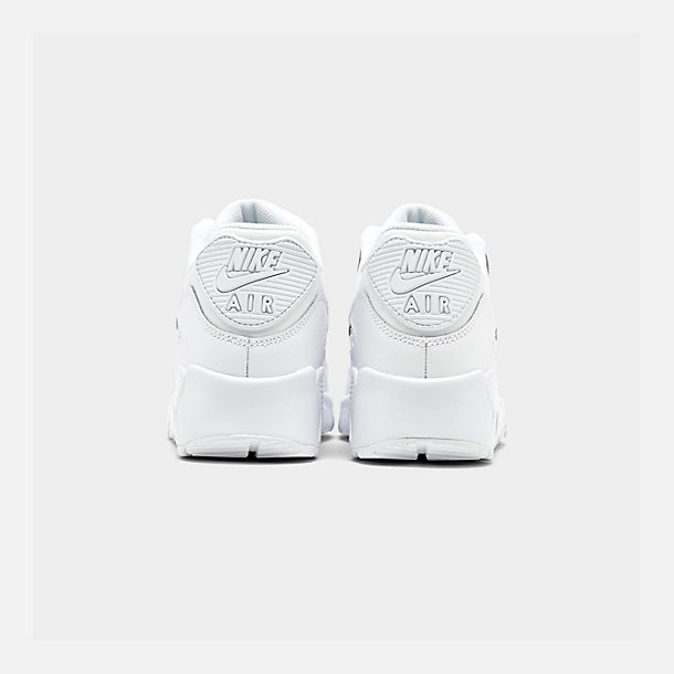 Left view of Big Kids' Nike Air Max 90 Leather Casual Shoes in White/White