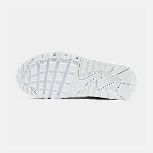 Bottom view of Big Kids' Nike Air Max 90 Leather Casual Shoes in White/White