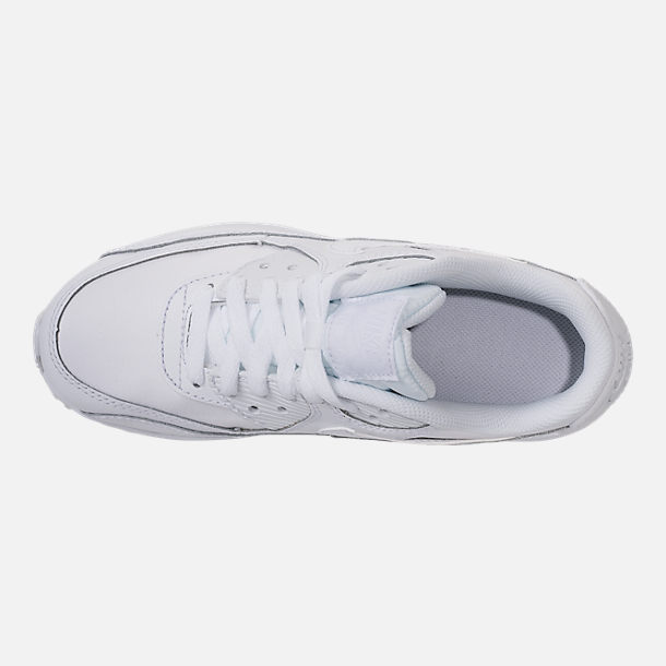 Top view of Big Kids' Nike Air Max 90 Leather Casual Shoes in White/White