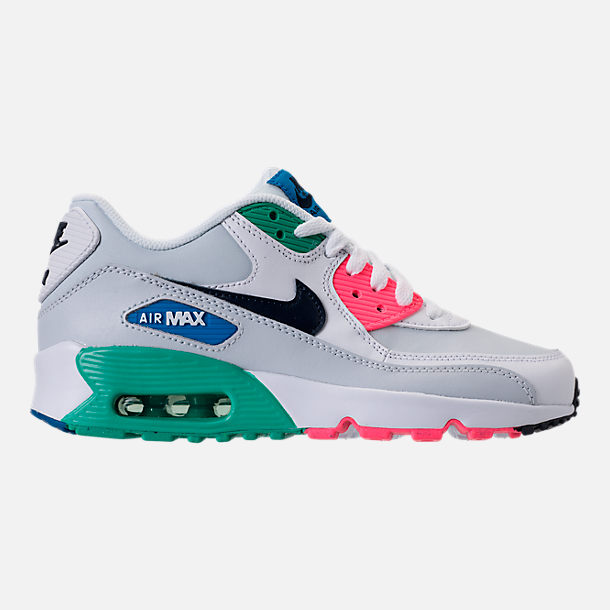Right view of Big Kids' Nike Air Max 90 Leather Casual Shoes in White/Obsidian/Pure Platinum