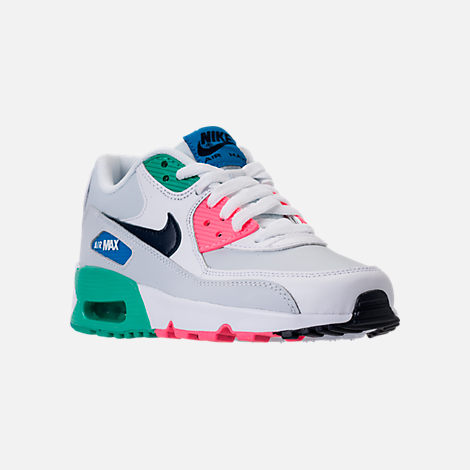 Three Quarter view of Big Kids' Nike Air Max 90 Leather Casual Shoes in White/Obsidian/Pure Platinum