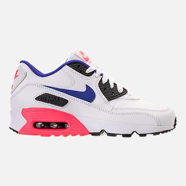Right view of Kids' Grade School Nike Air Max 90 Leather Running Shoes in White/Ultramarine/Solar Red