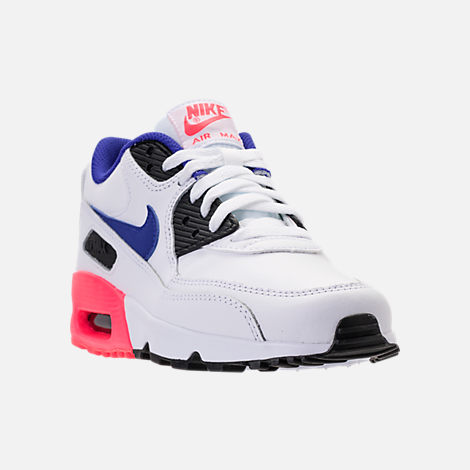 Three Quarter view of Kids' Grade School Nike Air Max 90 Leather Running Shoes in White/Ultramarine/Solar Red