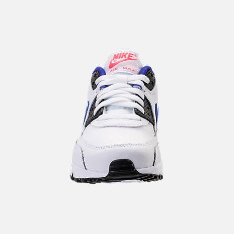 Front view of Kids' Grade School Nike Air Max 90 Leather Running Shoes in White/Ultramarine/Solar Red
