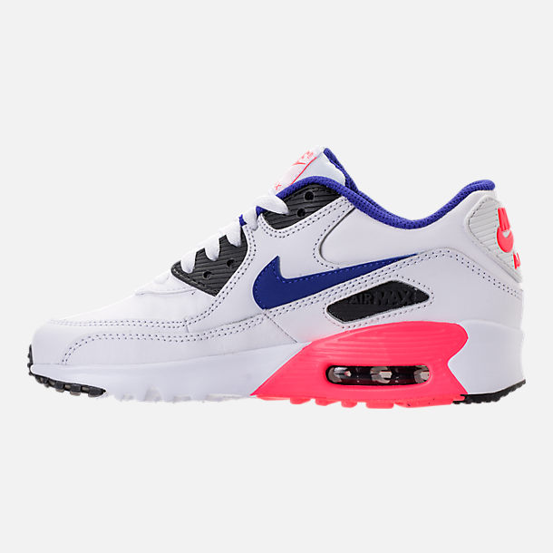 Left view of Kids' Grade School Nike Air Max 90 Leather Running Shoes in White/Ultramarine/Solar Red