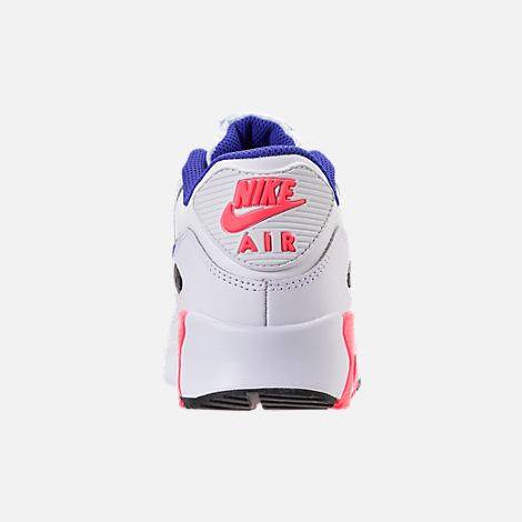 Back view of Kids' Grade School Nike Air Max 90 Leather Running Shoes in White/Ultramarine/Solar Red