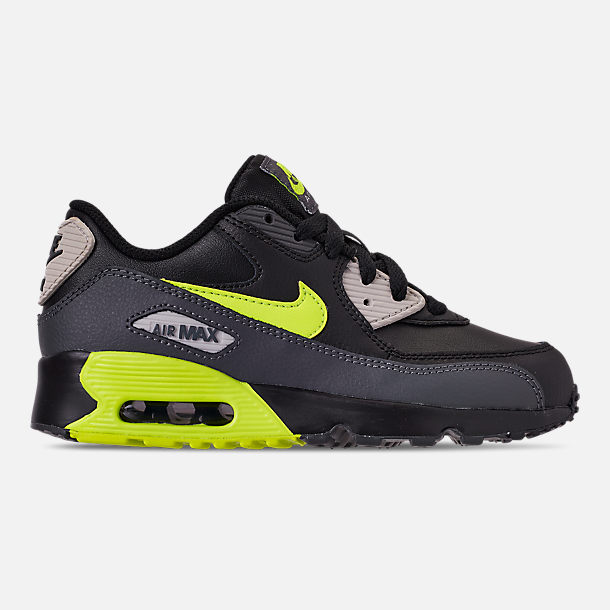 Right view of Little Kids' Nike Air Max 90 Leather Casual Shoes in Dark Grey/Volt/Black/Light Bone