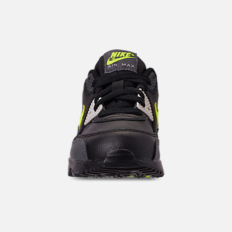 Front view of Little Kids' Nike Air Max 90 Leather Casual Shoes in Dark Grey/Volt/Black/Light Bone