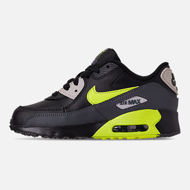 Left view of Little Kids' Nike Air Max 90 Leather Casual Shoes in Dark Grey/Volt/Black/Light Bone