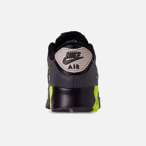 Back view of Little Kids' Nike Air Max 90 Leather Casual Shoes in Dark Grey/Volt/Black/Light Bone